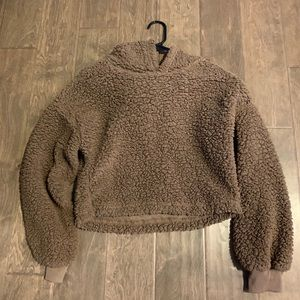 Zaful Teddy bear cropped hoodie